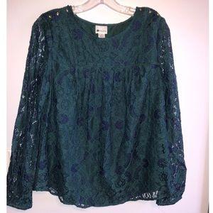 Stylus green lace blouse
